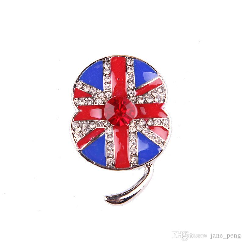 UK Style Poppy Flower Crystal Brooches Pin For Women Gift Sweater ... 2a46580835ab
