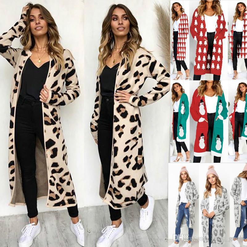 025957faedc 2019 Female Cardigans Autumn Winter Sweater Cardigan Christmas Wear Long  Sleeve Oversized Knitted Sweater Coat Loose Print Long Casaco Feminina From  ...