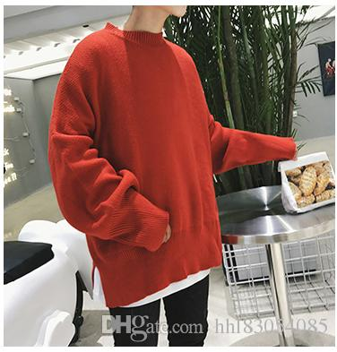 2019 Oversized Knit Sweater Men Streetwear Fashion Casual Korean Oversize  Loose Round Collar Men Knit Sweater From Hhl83054085 18622603f