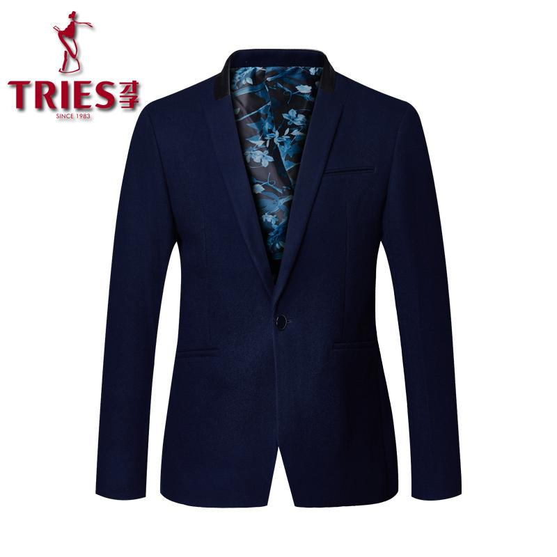 501184e2953 2019 TRIES 2018 New Mens Deep Blue Wool Suit Jacket Leisure Blazer Slim Fit  Smart Casual Suits Jacket Hot Sale Brand Clothing From Cactuse, $98.6    DHgate.