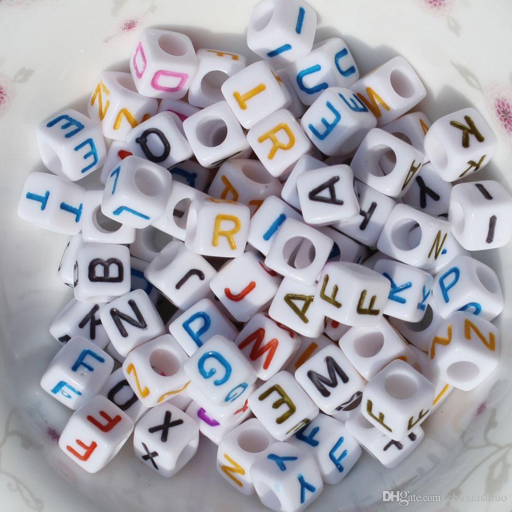 Mixed Color Acrylic Letter/ Alphabet Cube Beads 6 mm DIY Bracelet Beads Making Crafts