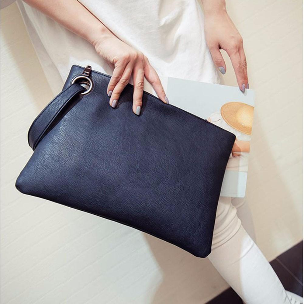 Women Leather Handbag Clutch Evening Bag Simple Retro Envelope Package Female  Leather Solid Daily Clutches Handbags Bolsas Leather Purse Purses For Sale  ... d5efb2f682ea3