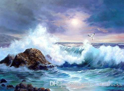 Framed seascape ocean waves with rock sea birds in sunset,Perfect Pure Hand-painted Seascape Art oil painting on canvas Multi sizes Sc043