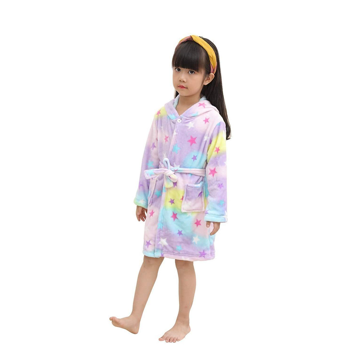 6424e54879 2019 Kids Soft Bathrobe Unicorn Fleece Sleepwear Comfortable Loungewear For 0  11years Children Boys Girls Warm Bathrobe From Max4072