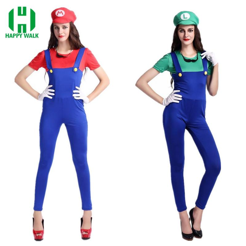 cosplay costume Adult Super Mario Costumes Women Luigi Clothing Sexy Plumber Costume Halloween Super Mario Bros Cosplay Costumes For Women