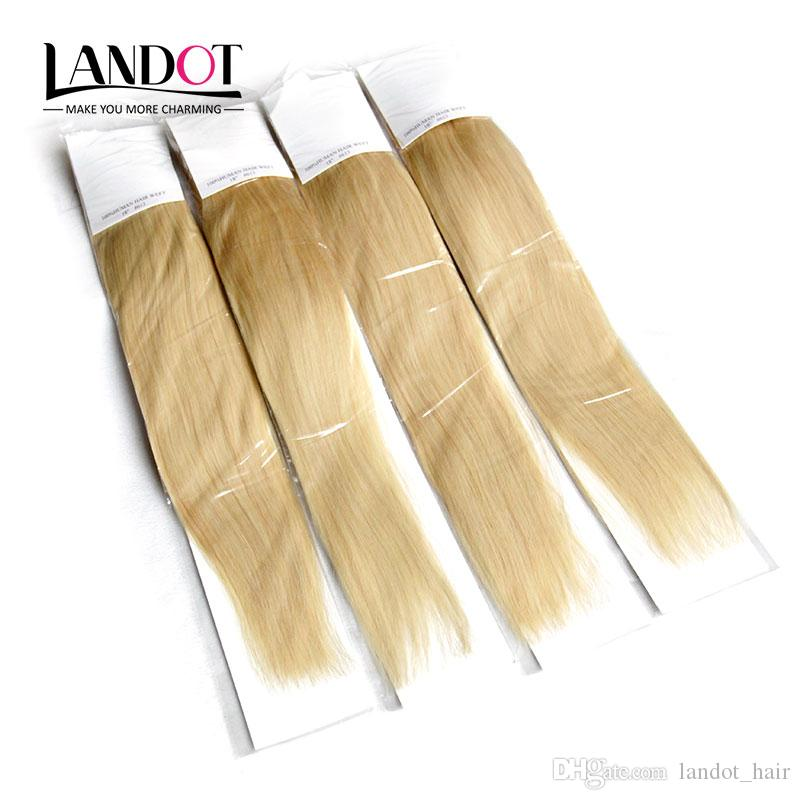 Brazilian Straight Virgin Hair Grade 8A Color #613 Bleach Blonde Human Hair Weave Bundles Brazilian Remy Hair Extensions 3/4Pcs Double Wefts