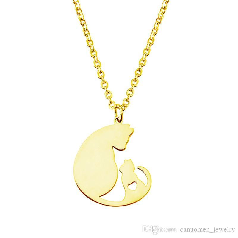 Mutter Katzen Liebe Anhänger Halskette Herzförmigen Edelstahl Silber Gold Liebhaber Gliederkette Für Frauen Charme Schmuck Großhandel