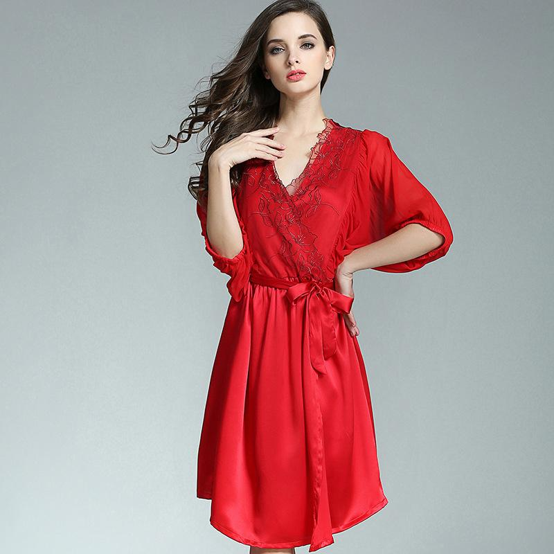 5ccdd2df2e 2019 100% Silkworn Silk Women Sleeping Robe Nightdress Two Piece Sets  Summer Sexy Real Silk Sleepwear Female Half Sleeve P9931 From Bida Jany, ...