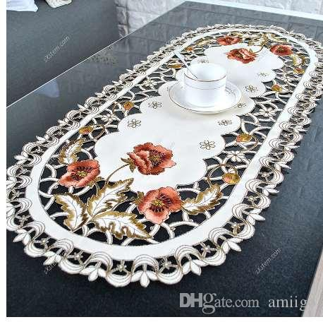 Yazi european pastoral embroidered flower oval tablecloths white yazi european pastoral embroidered flower oval tablecloths white weddings dinner table cloths shabby chic bedside table cover kitchen table covers buy table watchthetrailerfo