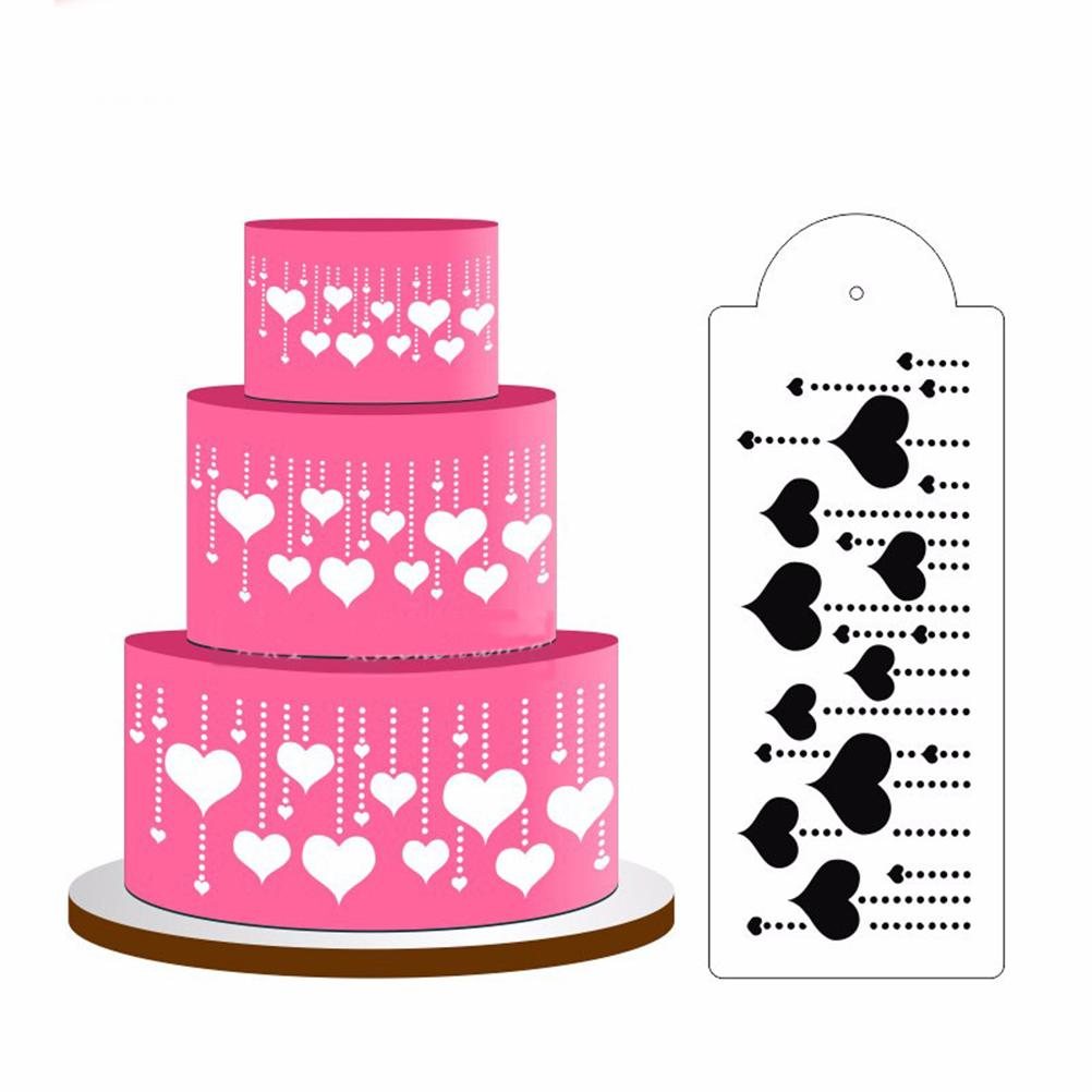 2018 Henghome Fashion Cake Decorating Toolheart Cake Stencil Side ...