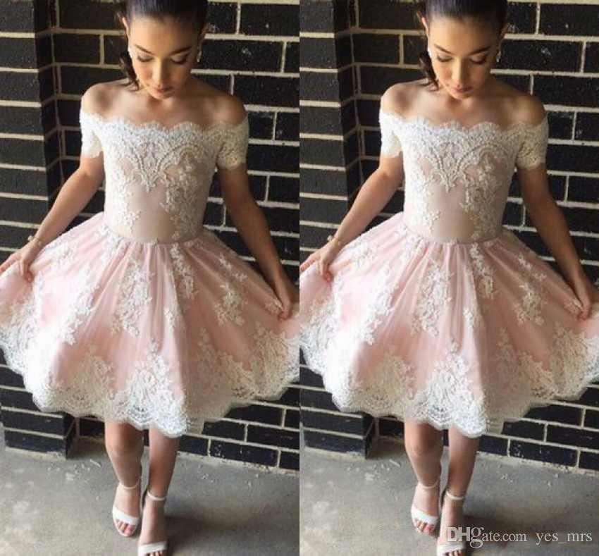 4b778211be 2018 New Cheap Sexy Blush Pink Cocktail Dresses White Lace Appliques Off  Shoulder Short Mini Party Formal Prom Dresses Homecoming Gowns Two Piece  Cocktail ...