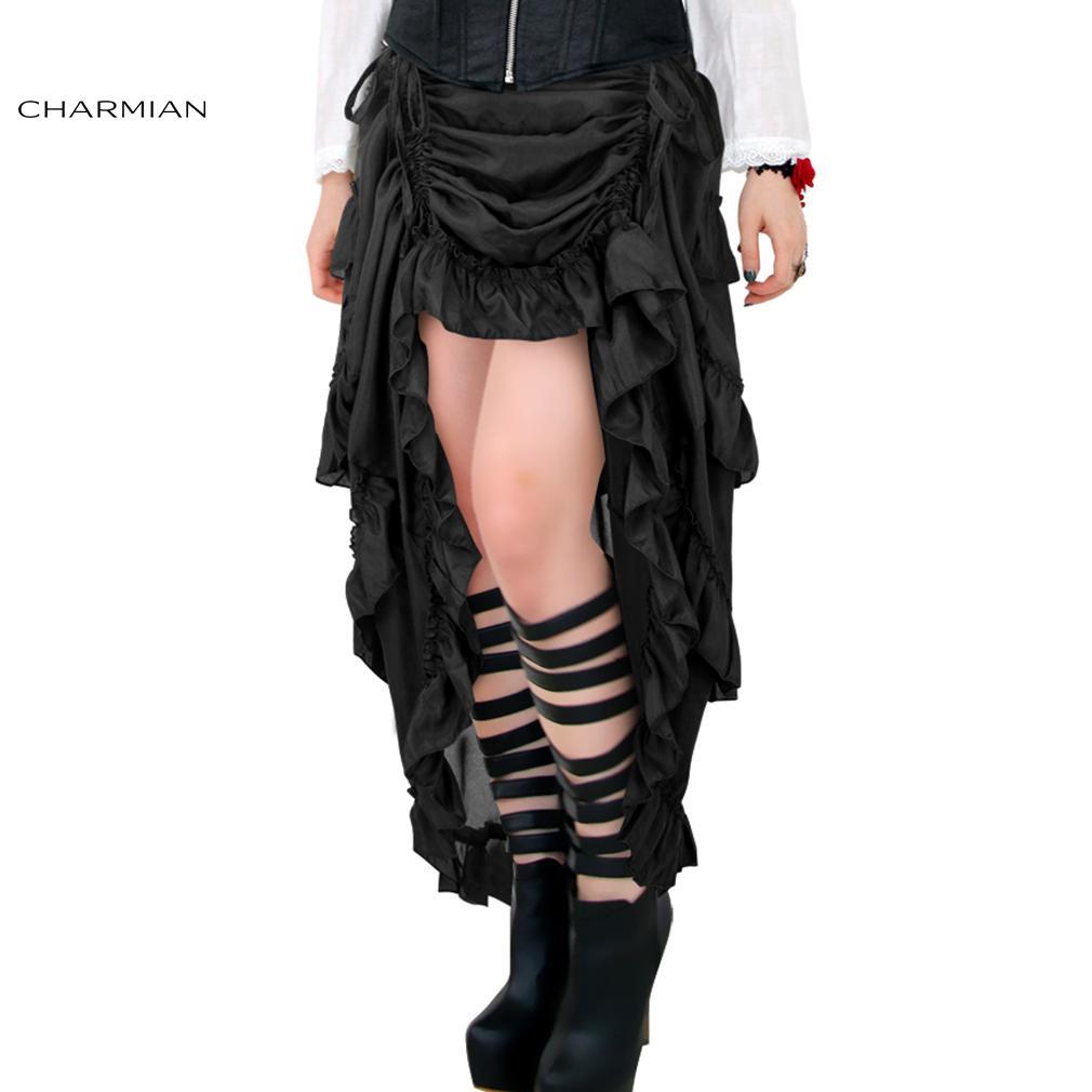 1523fff4901d4 Charmian Women S Plus Size Victorian Gothic Steampunk Skirt Sexy Summer  Party Black Ruffles Vintage High Waist High Low Skirt D1891802 Night Dresses  Casual ...