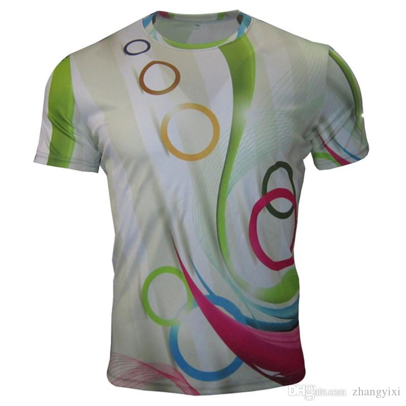 Atacado Frete Grátis homens poliéster leite seda 3d impressão digital cor mush mush anel verão casuais t camisas