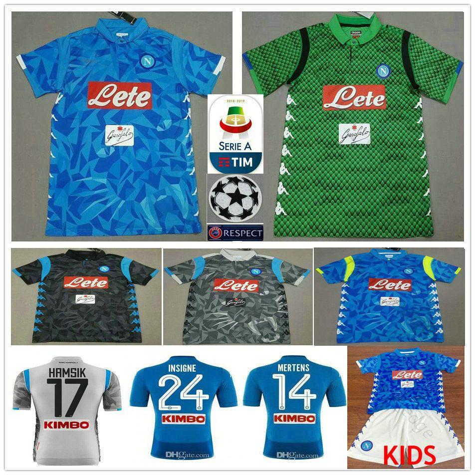 18 19 Napoli Football Jersey Hamsik Insigne Mertens Milik Callejon ... e07c13ce8ee3f