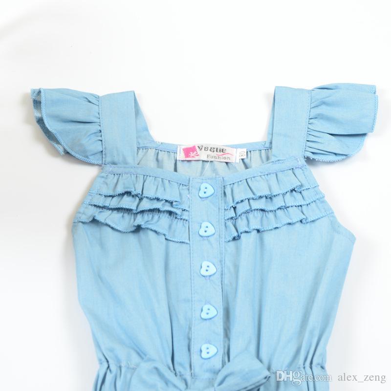 2018 Meninas Do Verão Macacão Crianças roupas Denim Cor Ruffles Bow Macacões manga Curta Single-breasted Botões Roupa Dos Miúdos
