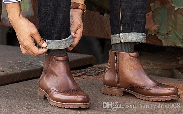 nouvelle côté mode des chaussures en cuir hommes sculptés, côté nouvelle masculin zip cd16d9