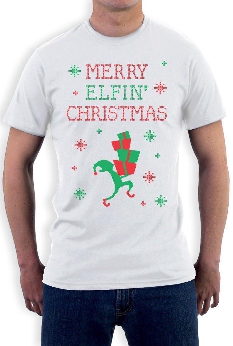 Merry Elfin Christmas Funny Ugly Christmas Sweater T Shirt Xmas