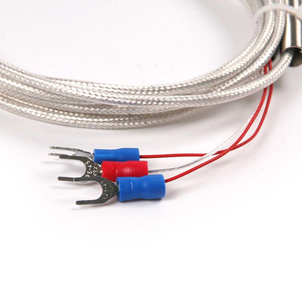 Waterproof RTD Pt100 Ohm Probe Sensor L 50mm PT NPT 1/2'' Thread with Lead Wire