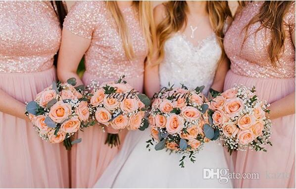 Blush Peach Sequins Country Long Bridesmaid Dresses with Sleeves 2018 Plus Size Sisters Holiday Party Maid of Honor Wedding Guest Gown