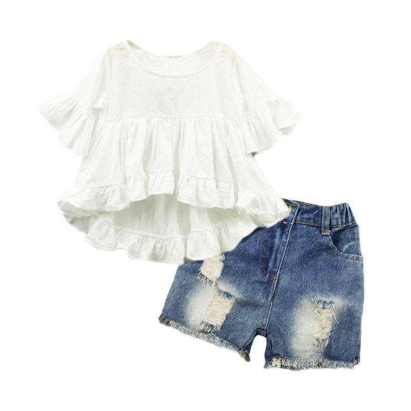 New Girls Dress Girls Shorts Designer Brand Kids Toddler Kids Baby Girls Trajes de verano Ropa Dovetail Dress + Denim Shorts 2PCS