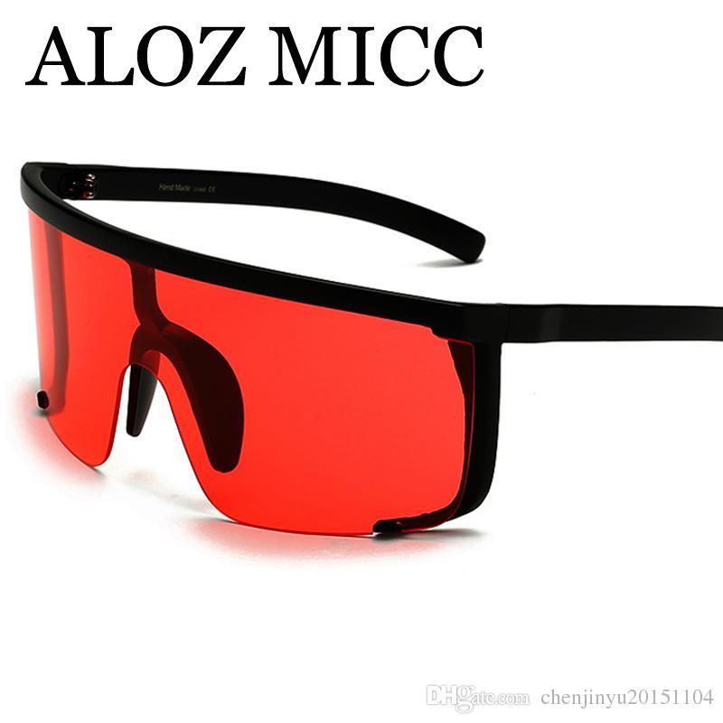 f863c76bb7f ALOZ MICC 2018 Sexy Women Oversize Mask Shape Shield Visor Sunglasses Women  Fashion Men Flat Top Windproof Hood Eyeglasses A592 Suncloud Sunglasses  Foster ...