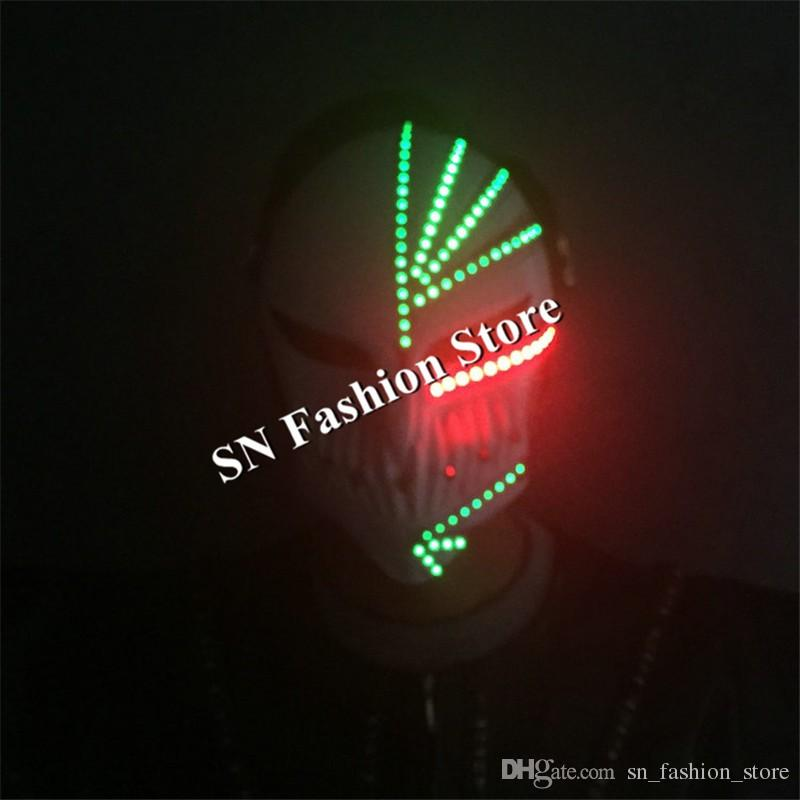 MD5-1 New LED robot costumes ballroom dance mask laser man mask Halloween full face light mask party dj diaso singer stage wears performance