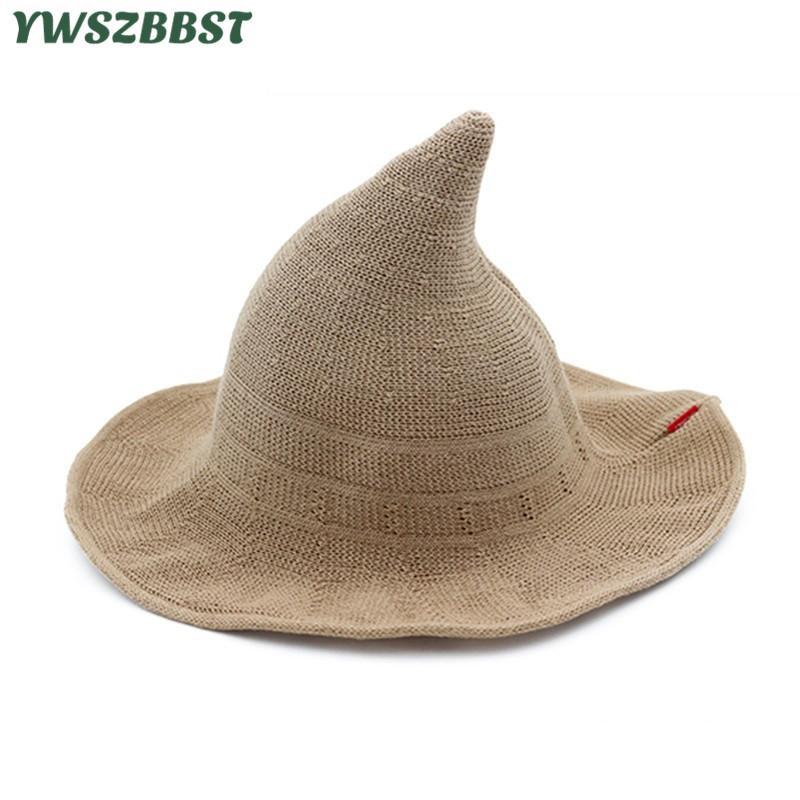 dcf83cb4d09 New Summer Women Sun Hats Fashion Steeple Witch Hat Women Bucket Cap Wide  Large Brim Anti UV Sun Cap Female Fisherman Hat Hat Styles Wool Hat From  Wutiamou
