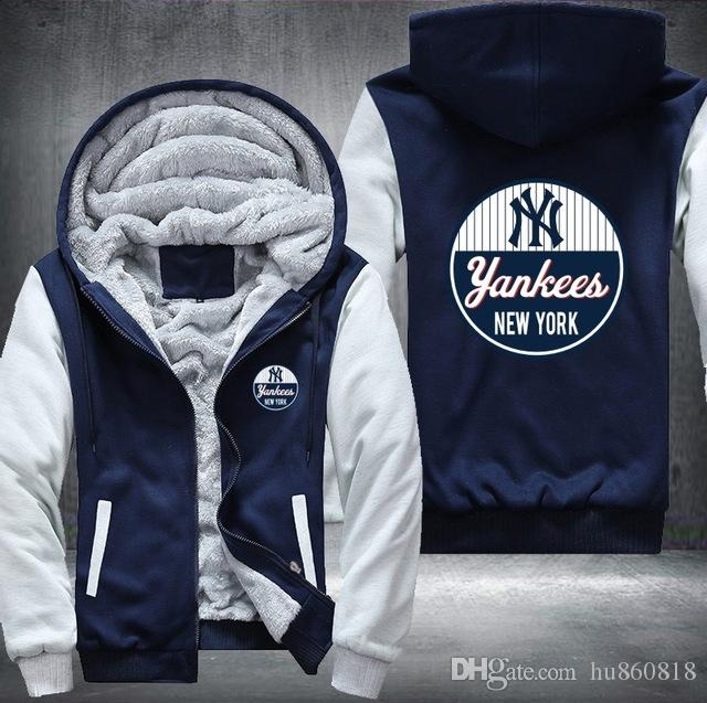 premium selection fba65 b437a 2018 NY New York Yankee Felpa Warm Fleece Addensare Giacca Zipper Coat  Felpe Felpe Up-to-date Giacca