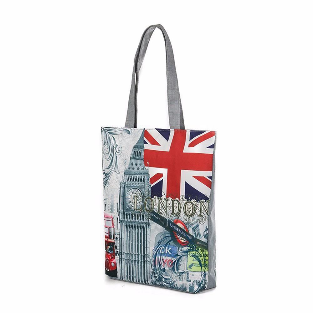 Sacos de Compras das mulheres Simples Maior Capacidade Lona Casual Tote Espaçoso Moda London Big Ben Impressão Design bolsa feminina