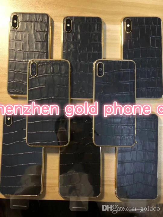 Newest For iPhone x real crocodile leather real gold Complete Back Metal Middle Frame Replacement Part back part