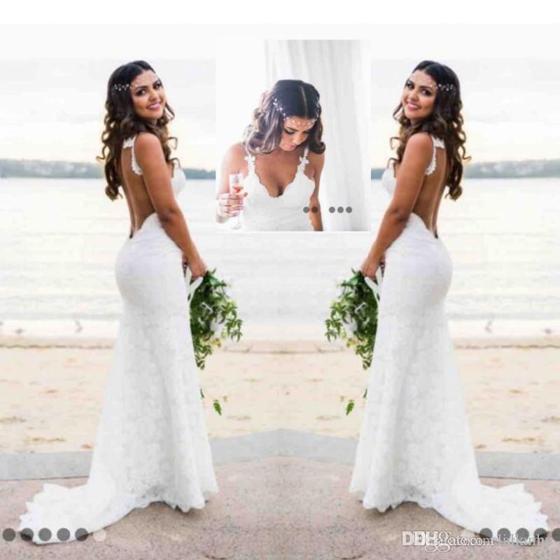 Sexy Beach Country Style Lace Mermaid Wedding Dresses Boho Backless Deep V Neck Backless Wedding Dress Cheap Bridal Gowns Simple Wear