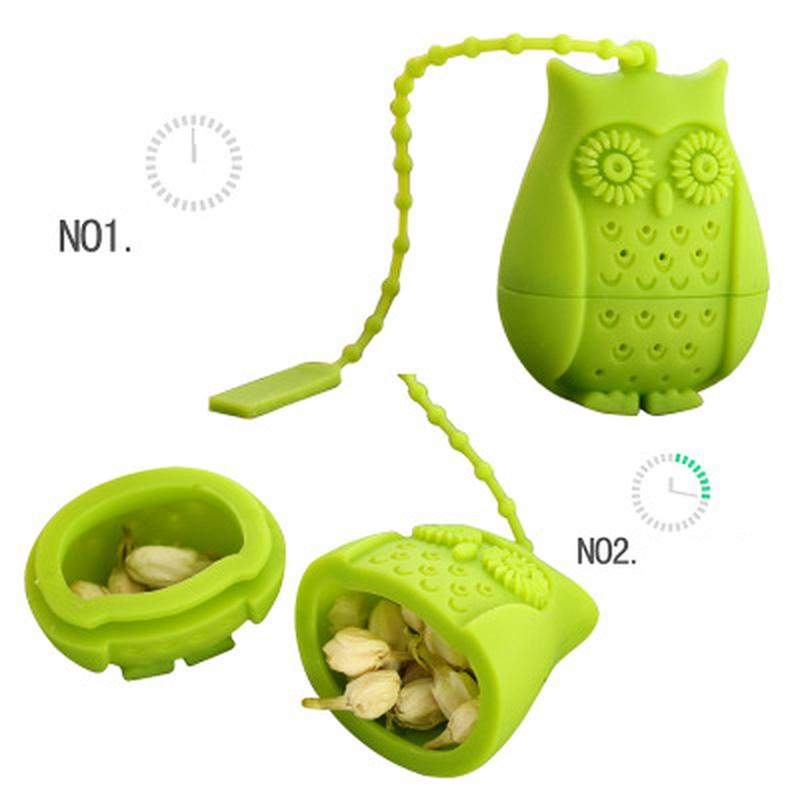 2019 Hot Sale Owl Tea Bags Tea Strainers Silicone Teaspoon Filter Infuser Silica Gel Filtration coffee tea infuser Promotion New