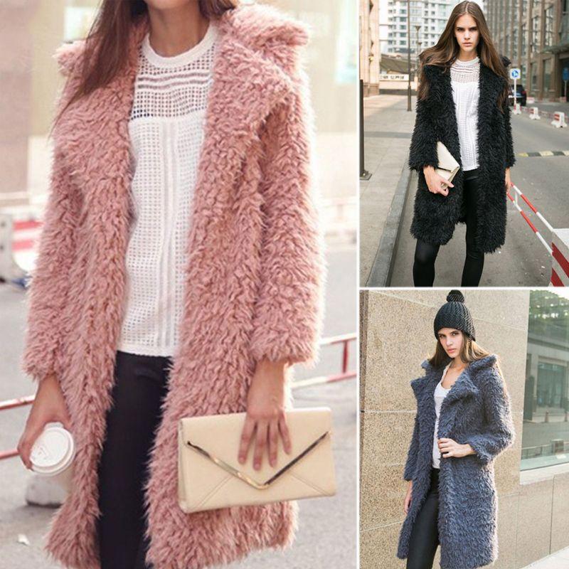f9a4ca424a33 2019 2018 Women Hairy Shaggy Long Fur Coat Autumn Winter Warm Lapel Faux  Lamb Wool Fur Coats Fashion Fluffy Overcoat Female Outwear S112 From  Ruiqi03, ...