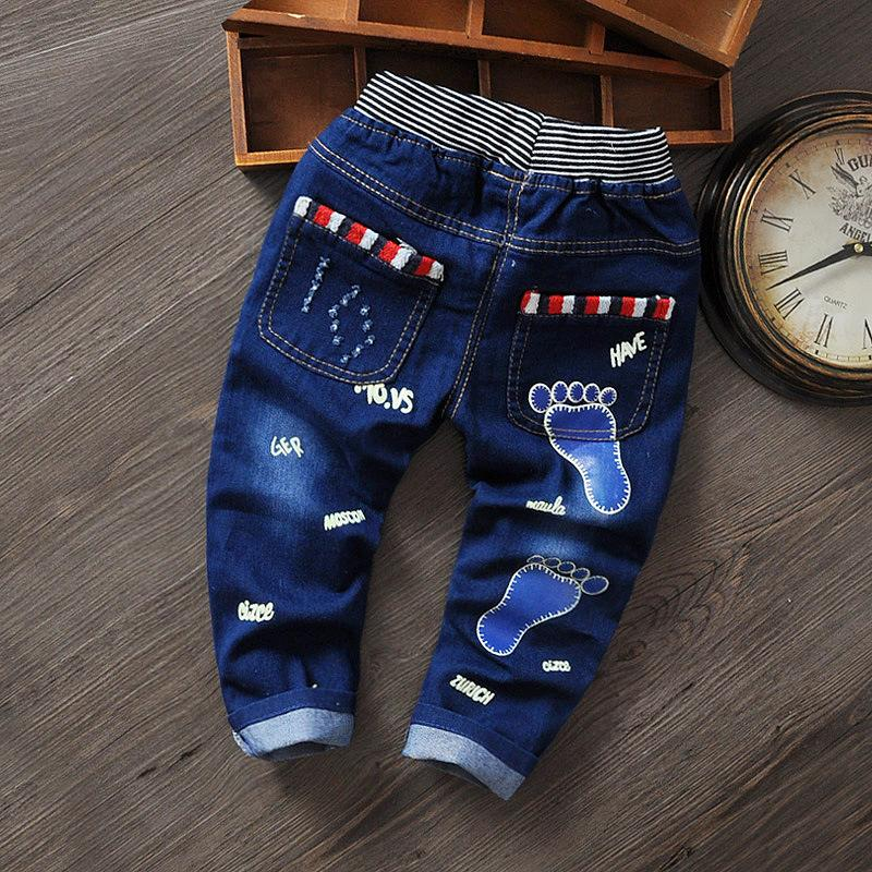 Jeans For Kids 2017 Spring Kids Fashion Denim Pants Baby Boy Trousers Autumn Children Foot Print Pattern Denim Jeans Pants 2-6Y