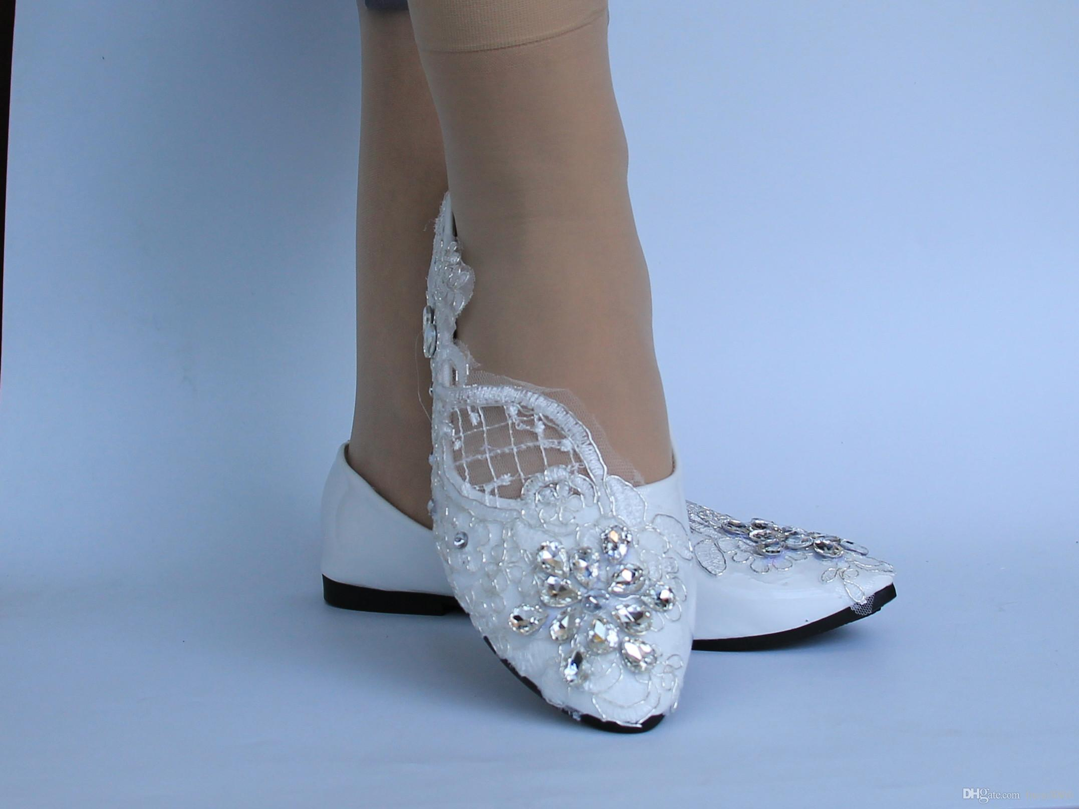 29b98caf359c New Fathion Lace White Crystal Wedding Shoes Bridal Flats Low High Heel  Pump Dansko Shoes Tennis Shoes From Facai8866