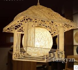 Pastoral fresh small house chandelier rattan nest decoration lights children's room personalized creative lamps balcony aisle lights