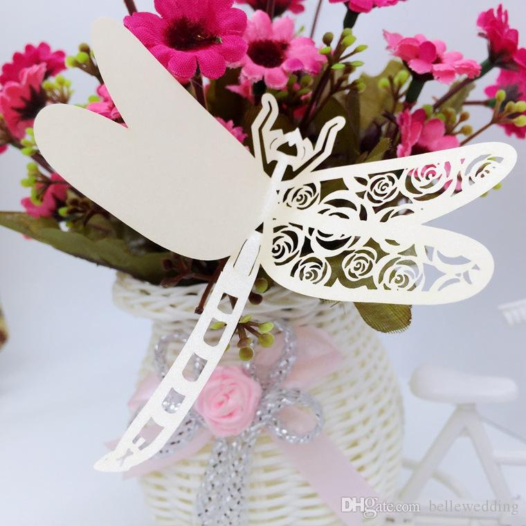 Laser Cut Place Cards With Dragonfly Roses Paper Cutting Name Cards