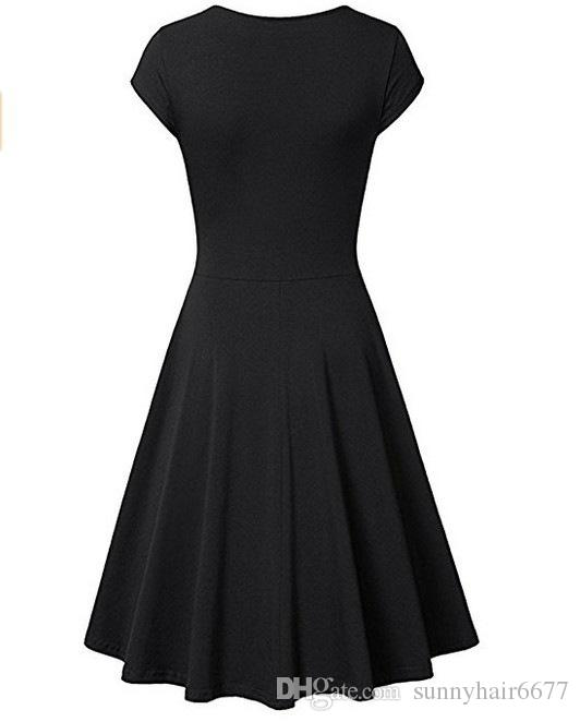 2018 Europe and the United States selling solid color Slim dress Elegant Dresses Womens Casual Dress A Line Cap Sleeve V Neck Q35