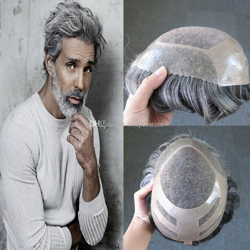 Mix Grey Toupee For Men Fine Mono Center With Poly Front Mens Toupee Hairpieces Replacement System Wave Grey Human Hair Men Wig #1B50