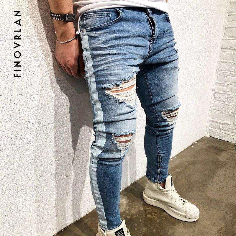 Skinny Jeans For Men Distressed Stretch Ankle zipper Jeans Blue Ripped Skinny hip hop Slim Fit stripe Streetwear