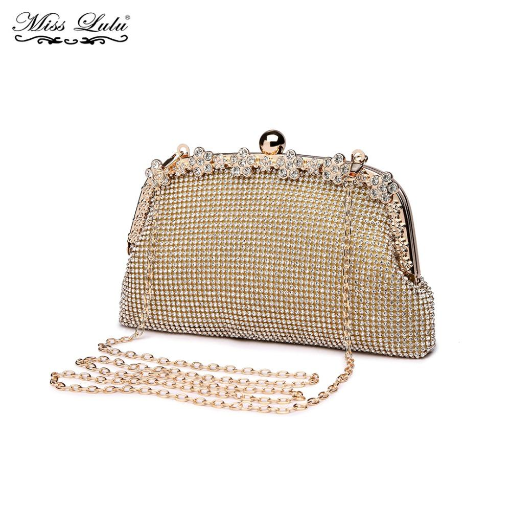 32cfa7160cb Miss Lulu Women Designer Luxury Glittering Clutch Purse Ladies Envelope  Evening Party Hand Bag Girls Chain Cross Body Bag LY1826 Purses For Women  Vintage ...