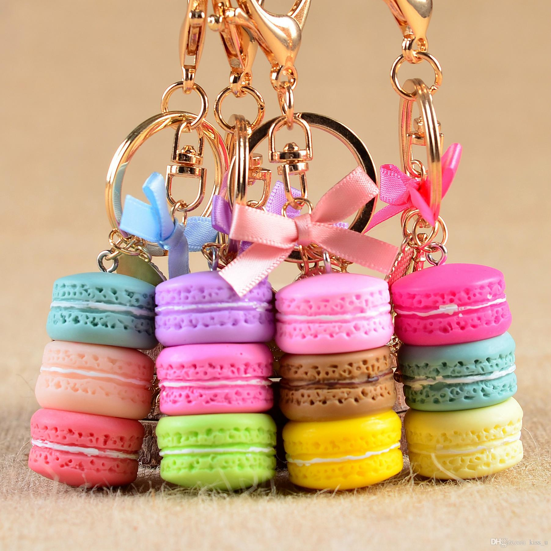 Women Cake Key Chain Fashion Nice Cute France Cake Macarons Keychain ...
