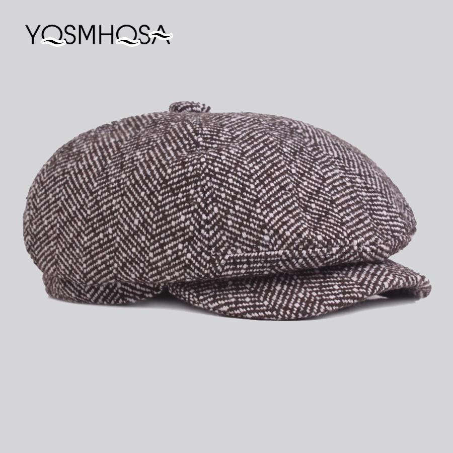 0160002dbeda0 2019 Winter Newsboy Beret Hat Men Cap Flat Autumn Winter Hats Cotton Plaid  Newsboy Octagonal Hat Women Cap French Artist Beret WH687 From Duweiha