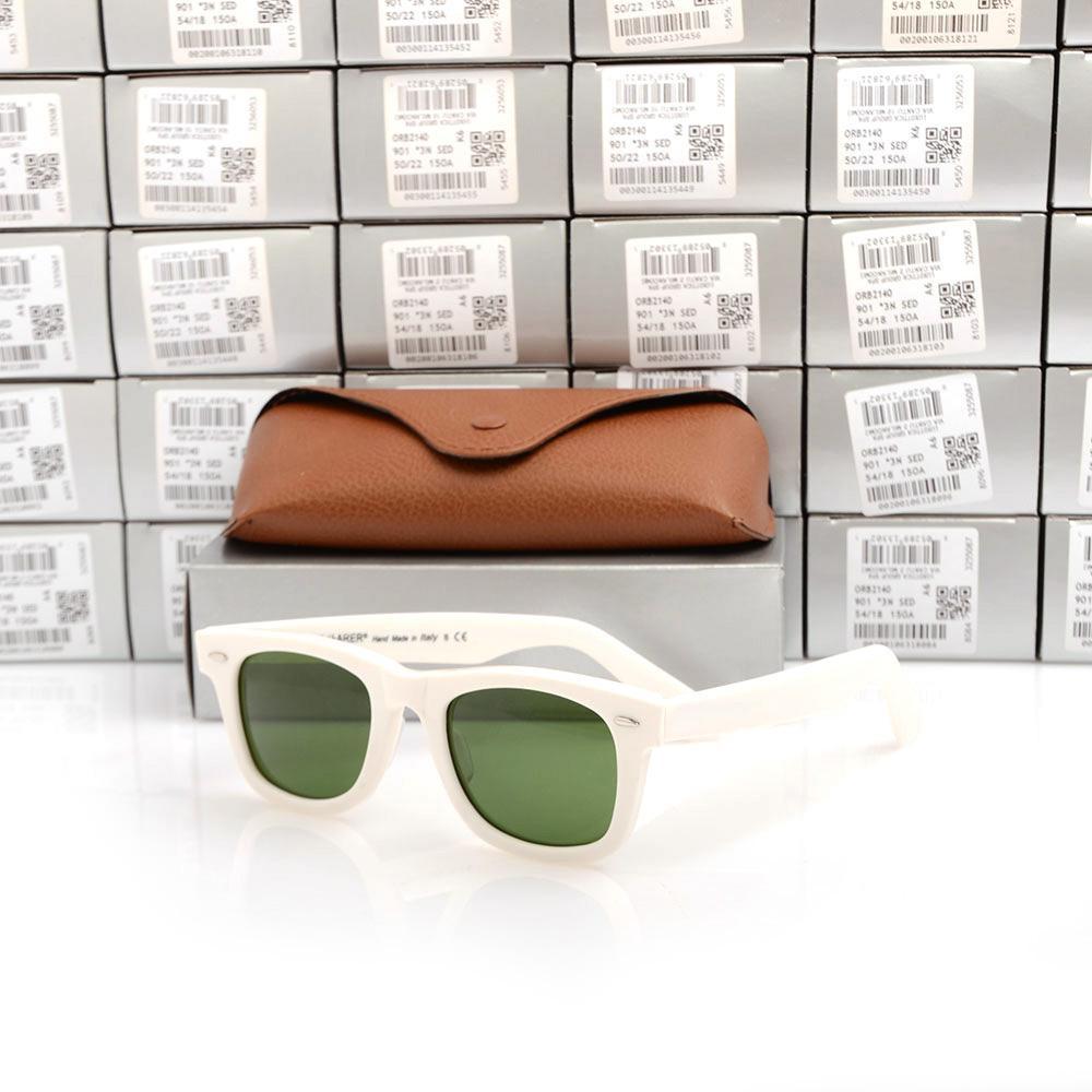 Hohe Qualität Metall Scharnier Sonnenbrille Planke schwarz Sonnenbrille Glas Strand Sonnenbrille Green Lens 2140 Marke Designer Sonnenbrillen Boxs
