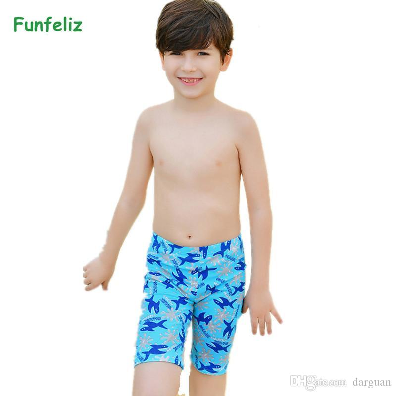 434ed54e98 Boys Swimming trunks Kids Boy Boardshorts Character Fish Children Swimwear  3-11 Years Swimsuit