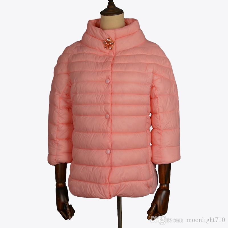 355204619 womens winter jackets and coats 3/4 sleeve solid color with crystal coat  female