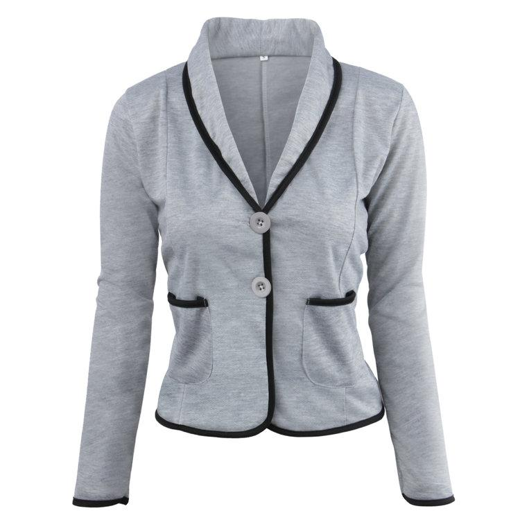 Suit jacket for women Spring and autumn fashion shawl collar small suit long-sleeved short cotton ladies jacket.