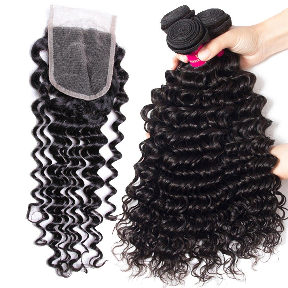 8a mink vague de corps brésilien droite vague lâche kinky bouclée profonde vague cheveux avec fermeture en dentelle malaisienne péruvienne brésilienne cheveux tissé