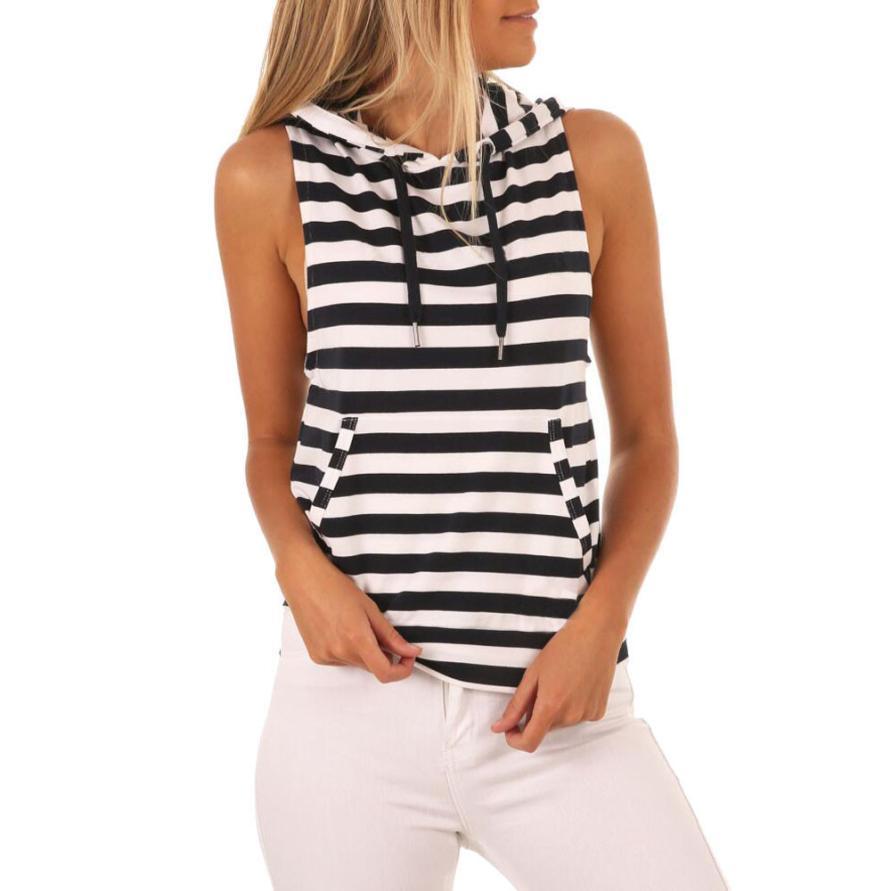 Compre Camiseta Mujer Verano Mujer Raya Camiseta Con Capucha Sin Mangas  Casual Tops A  26.46 Del Illusory06  55089f93a0450