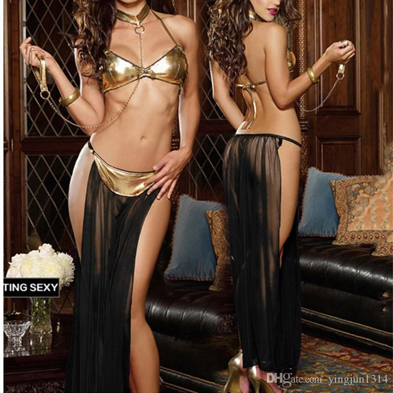 Sexy lingerie hot Gold patent leather bra long veil Pole dancing Lingerie set lenceria sexy erotic lingerie sexy costumes